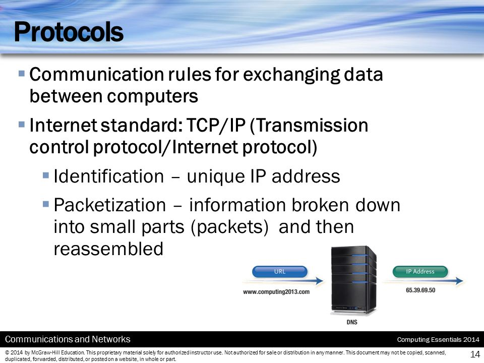 Protocols Communication rules for exchanging data between computers