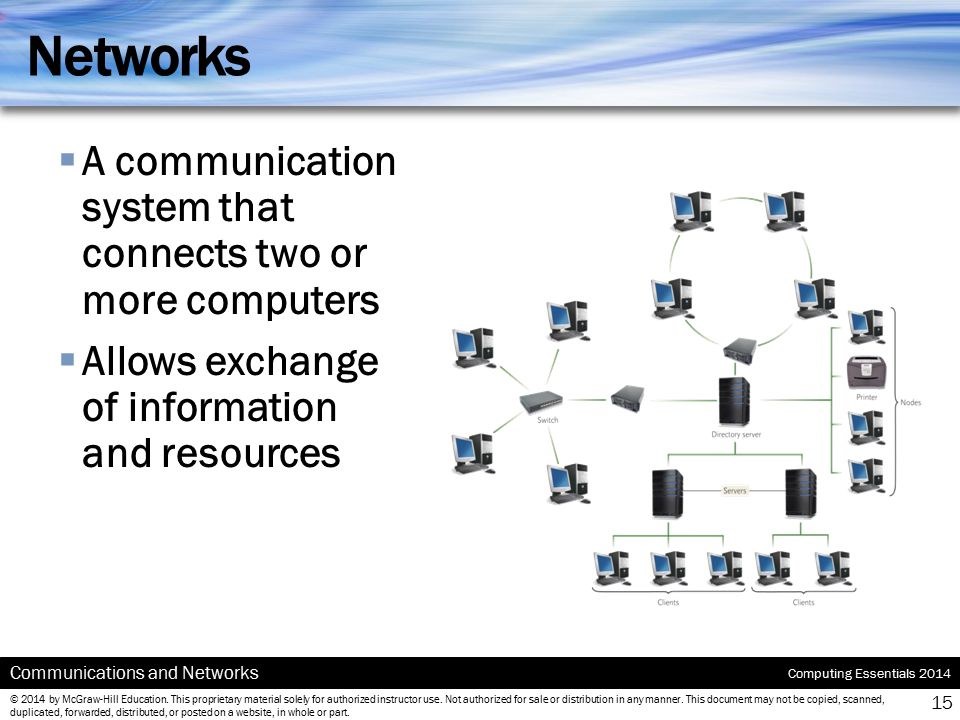 Networks A communication system that connects two or more computers