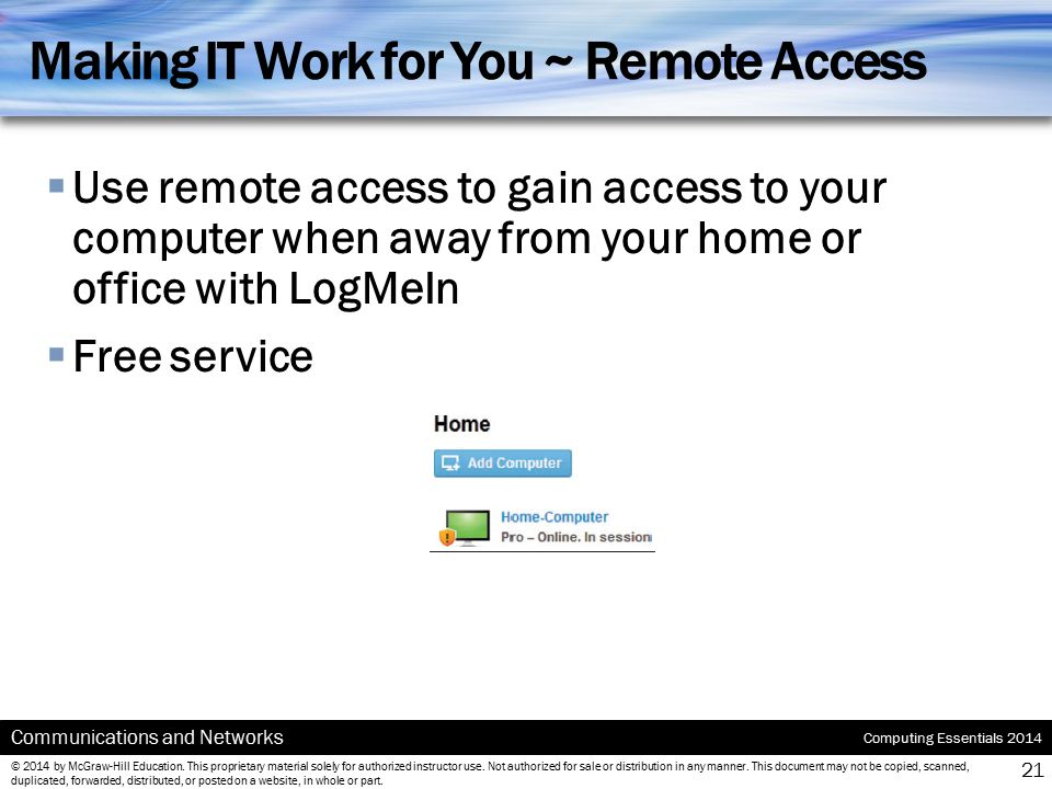Making IT Work for You ~ Remote Access