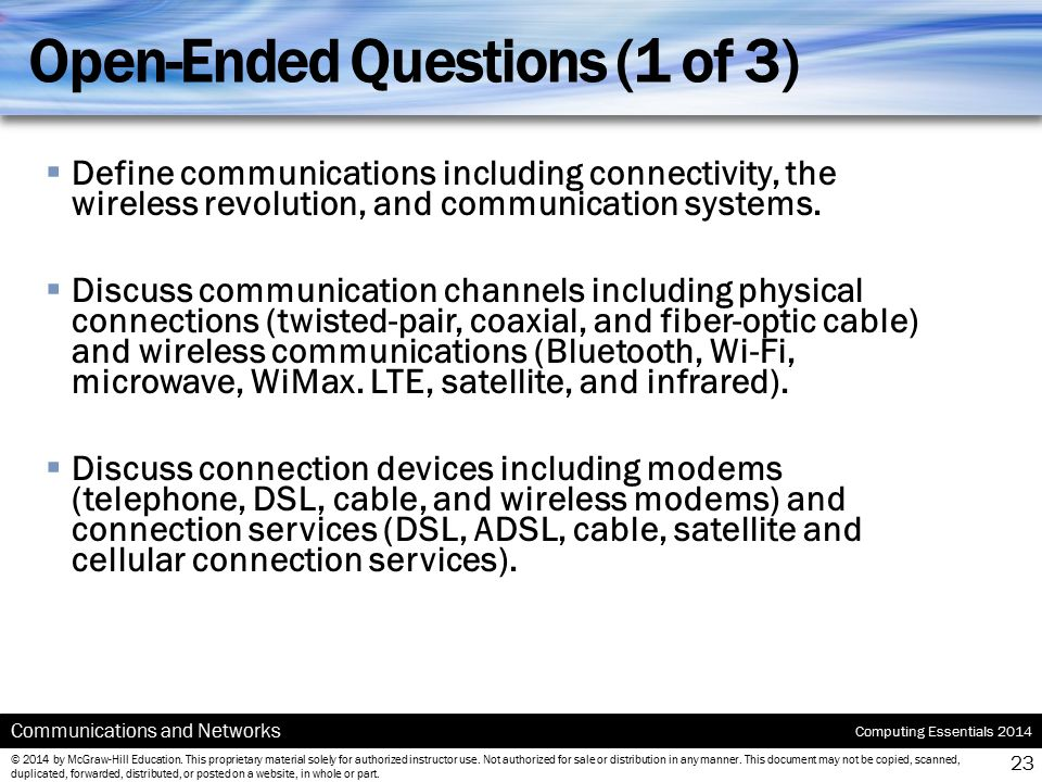Open-Ended Questions (1 of 3)