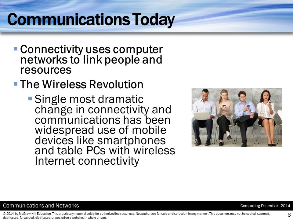 Communications Today Connectivity uses computer networks to link people and resources. The Wireless Revolution.