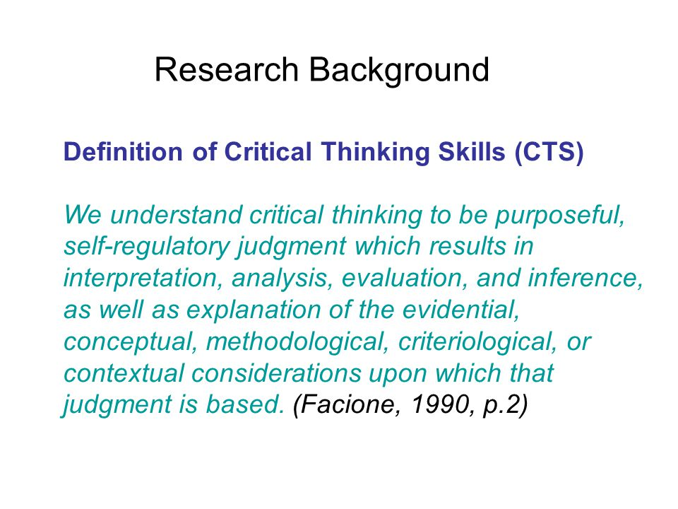 Critical thinking skills questionnaire
