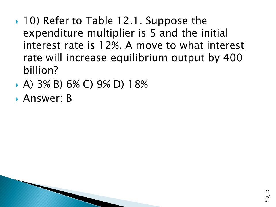 10) Refer to Table 12.1. Suppose the expenditure multiplier is 5 and the initial interest rate is 12%. A move to what interest rate will increase equilibrium output by 400 billion
