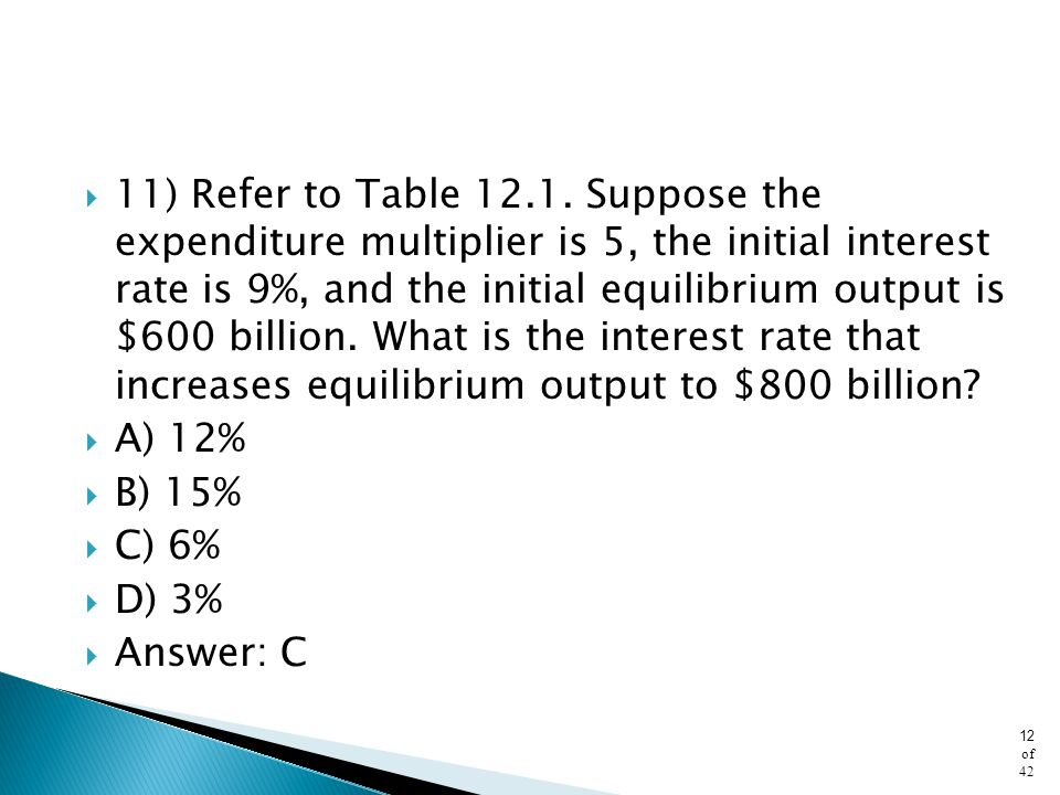 11) Refer to Table 12.1. Suppose the expenditure multiplier is 5, the initial interest rate is 9%, and the initial equilibrium output is $600 billion. What is the interest rate that increases equilibrium output to $800 billion