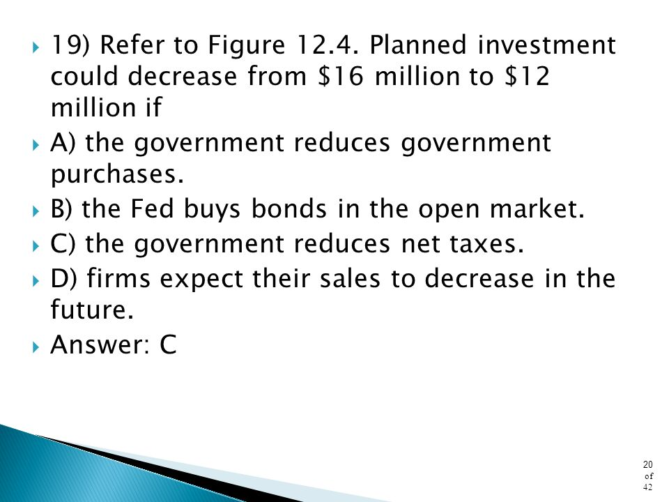 19) Refer to Figure Planned investment could decrease from $16 million to $12 million if