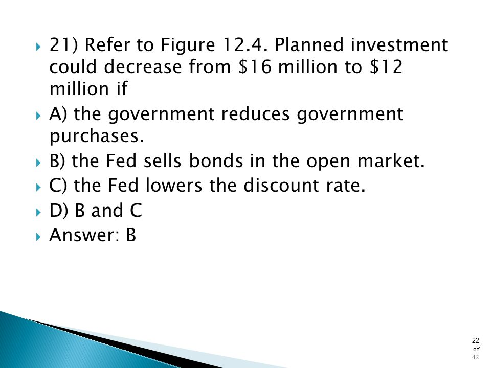 21) Refer to Figure 12.4. Planned investment could decrease from $16 million to $12 million if