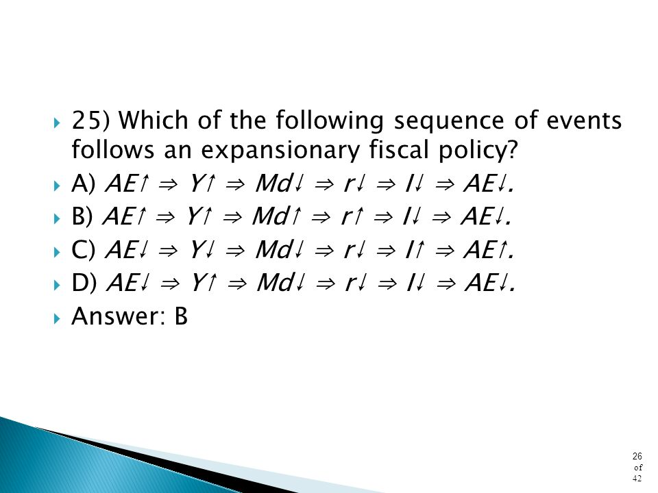 25) Which of the following sequence of events follows an expansionary fiscal policy