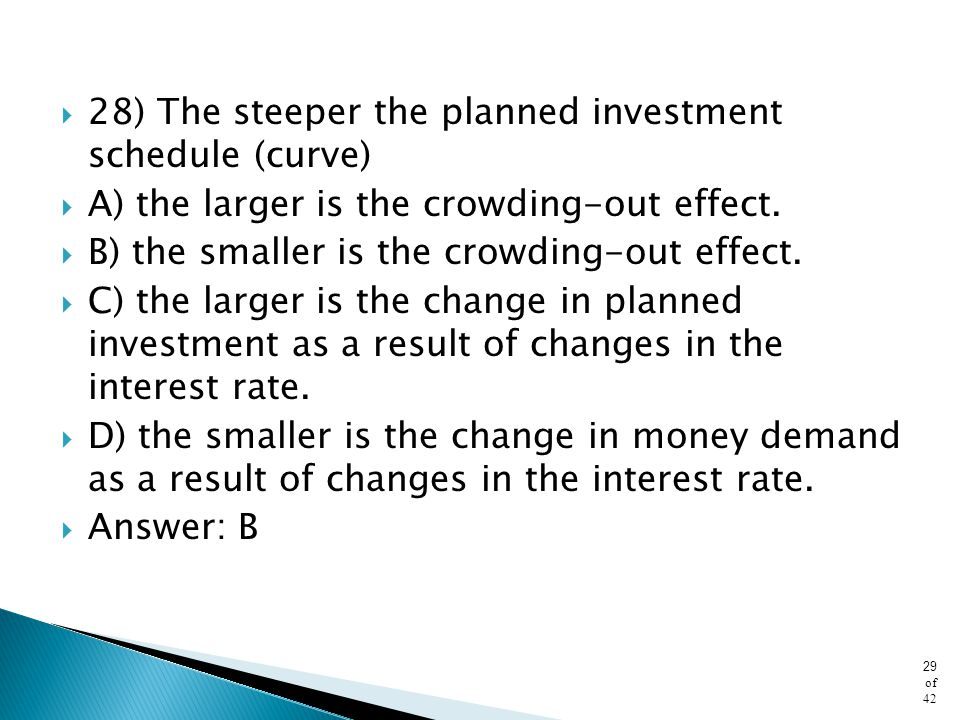 28) The steeper the planned investment schedule (curve)