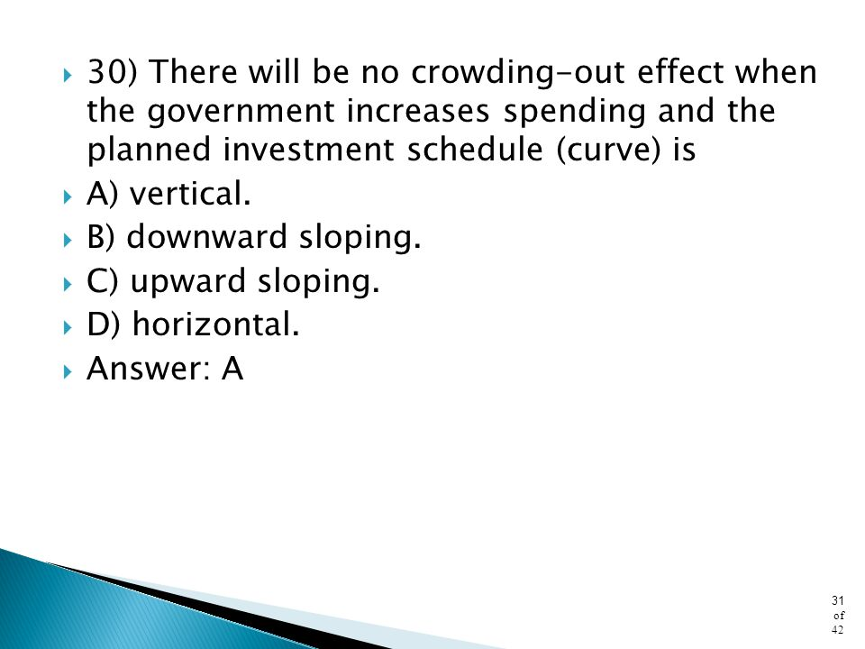 30) There will be no crowding-out effect when the government increases spending and the planned investment schedule (curve) is