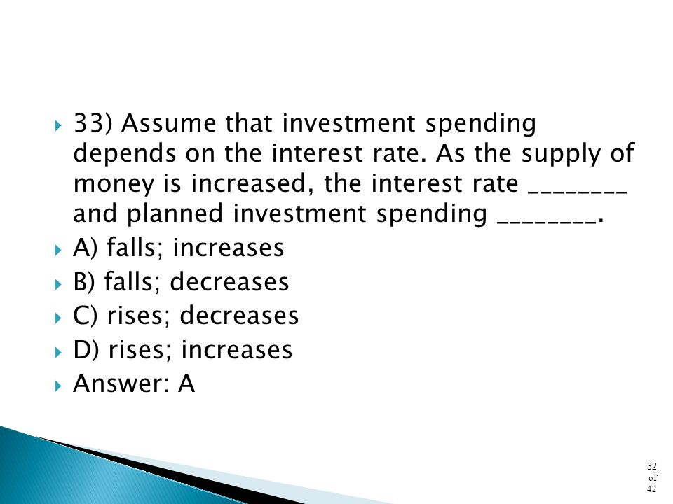 33) Assume that investment spending depends on the interest rate