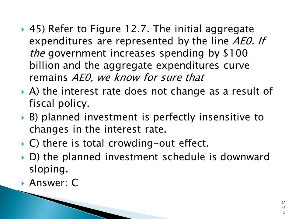 45) Refer to Figure 12.7. The initial aggregate expenditures are represented by the line AE0. If the government increases spending by $100 billion and the aggregate expenditures curve remains AE0, we know for sure that