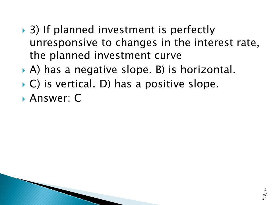 3) If planned investment is perfectly unresponsive to changes in the interest rate, the planned investment curve