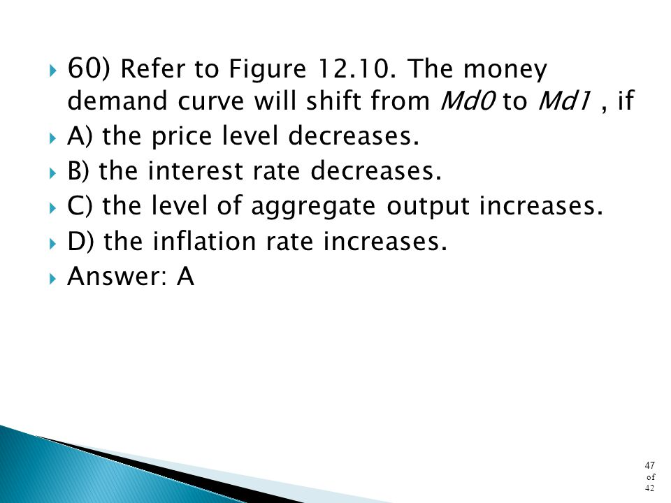 60) Refer to Figure The money demand curve will shift from Md0 to Md1 , if