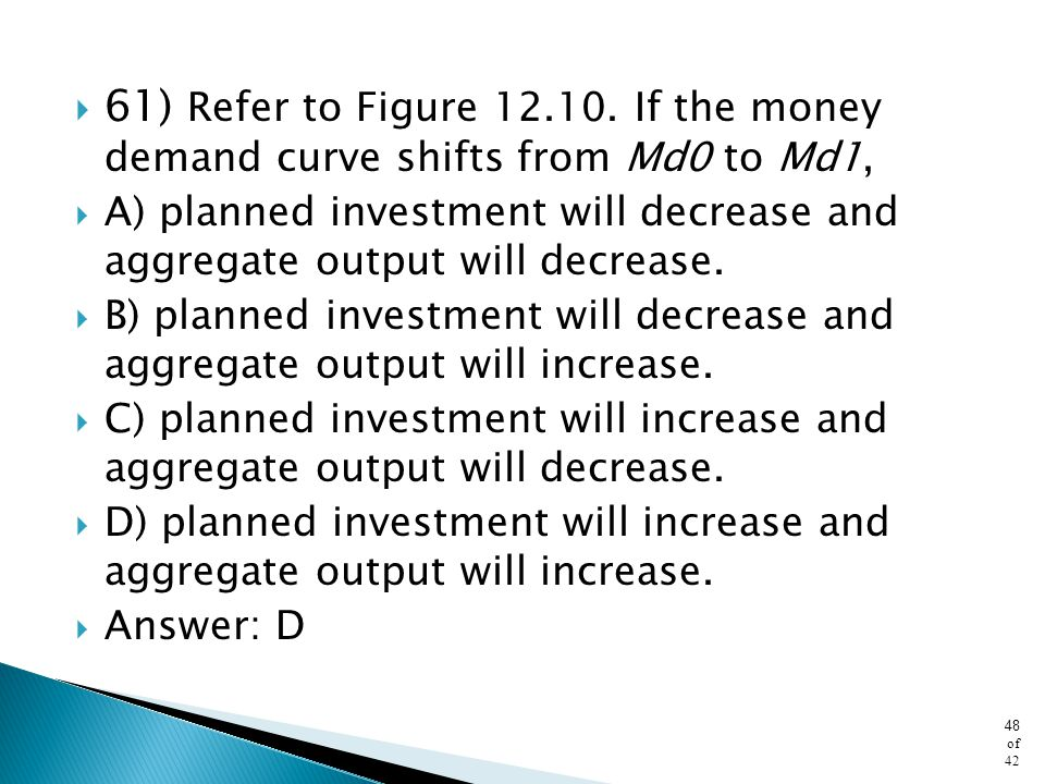 61) Refer to Figure 12.10. If the money demand curve shifts from Md0 to Md1,