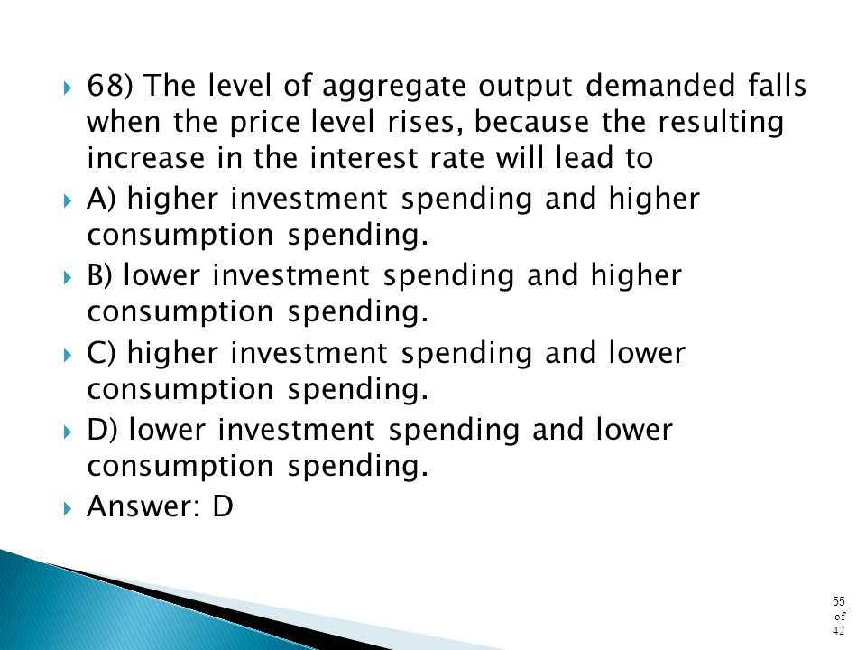 68) The level of aggregate output demanded falls when the price level rises, because the resulting increase in the interest rate will lead to