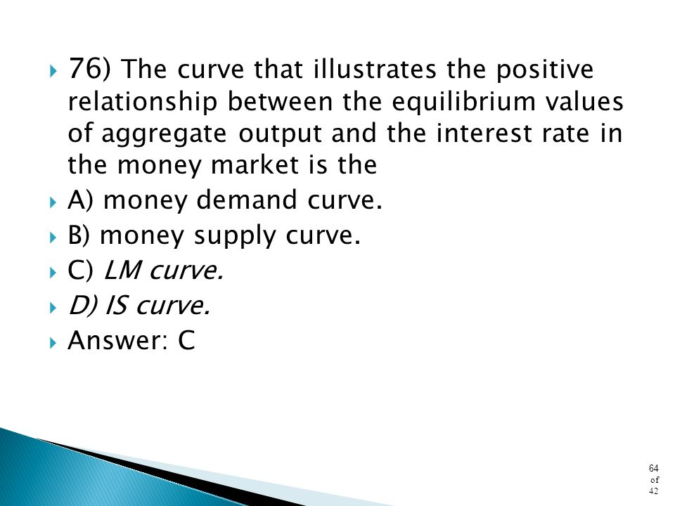 76) The curve that illustrates the positive relationship between the equilibrium values of aggregate output and the interest rate in the money market is the