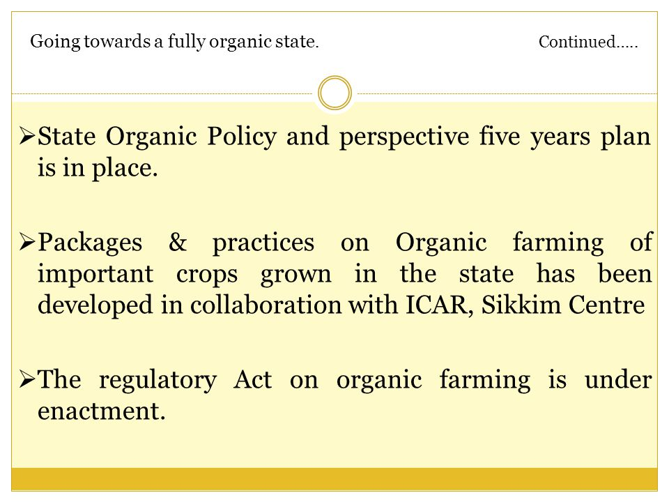 Going towards a fully organic state. Continued…..