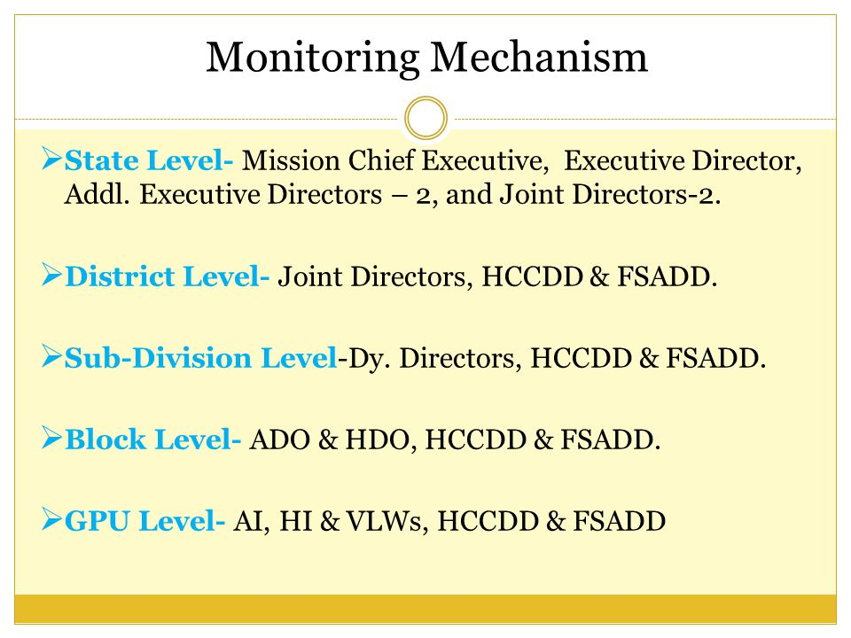 Monitoring Mechanism State Level- Mission Chief Executive, Executive Director, Addl. Executive Directors – 2, and Joint Directors-2.