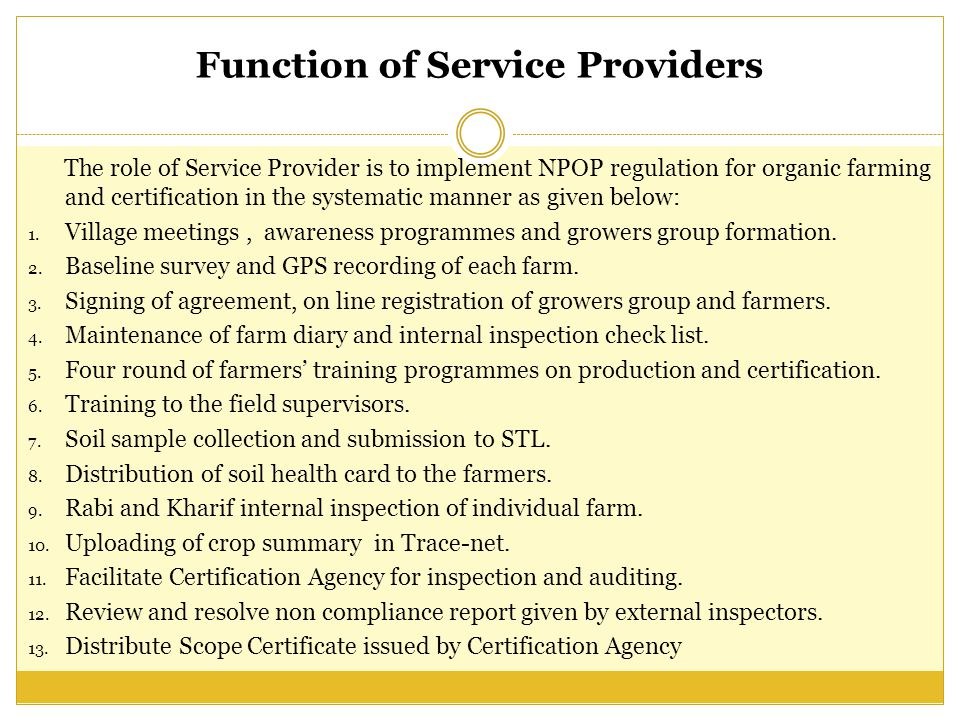 Function of Service Providers