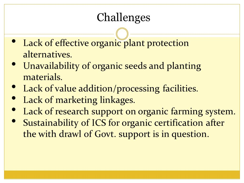 Challenges Lack of effective organic plant protection alternatives.