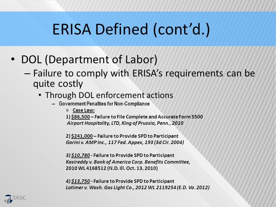 ERISA Compliance & Surviving DOL Audit - ppt download