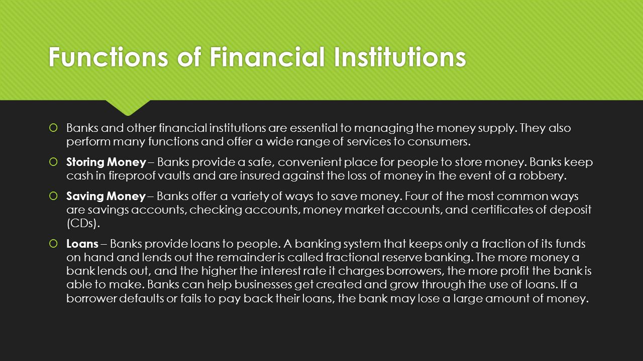 Money and banking ppt video online download 31 functions of financial institutions xflitez Gallery