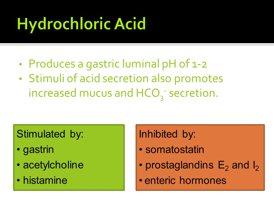 Hydrochloric Acid Produces a gastric luminal pH of 1-2