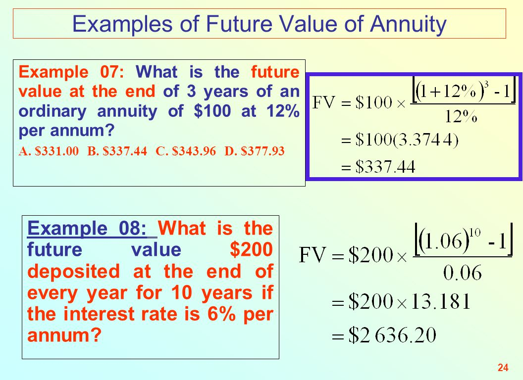 find the present value of the following ordinary annuities 400 per year for 10 years at 10 Each one is for a period of 10 years and pays $2,500 a year which of the following can you calculate i present value of an ordinary annuity ii present value of a perpetuity iii future value of an annuity due iv future value of a perpetuity: i.
