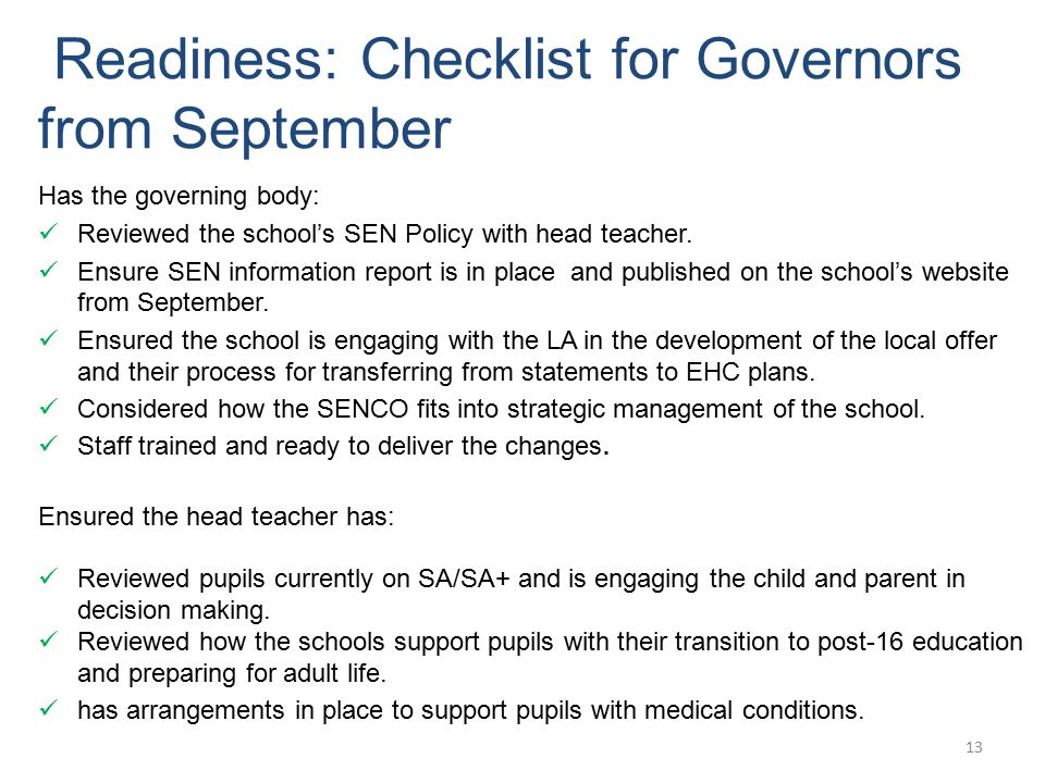 Readiness: Checklist for Governors from September