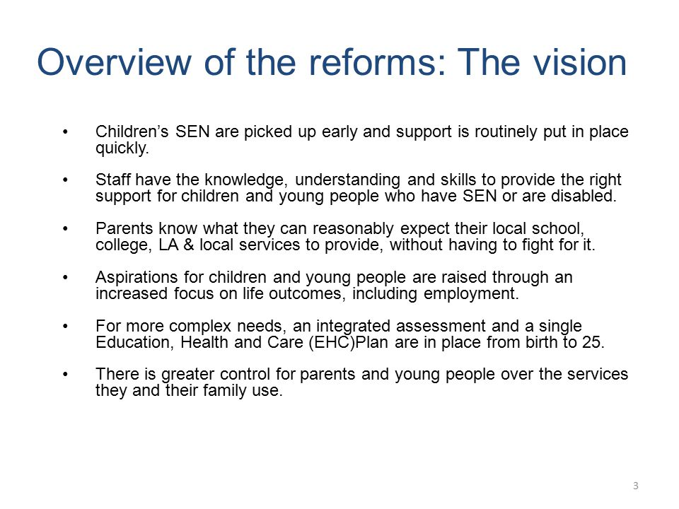 Overview of the reforms: The vision