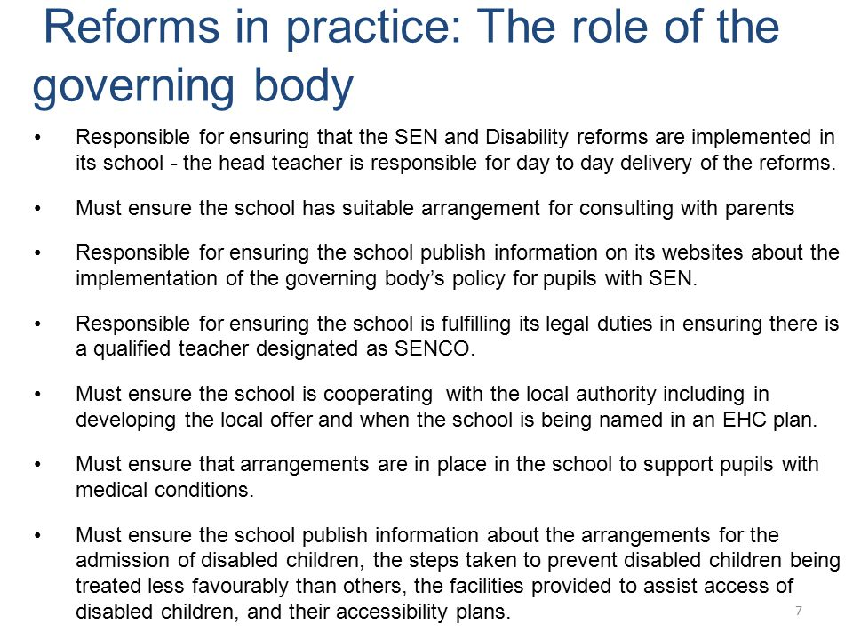 Reforms in practice: The role of the governing body