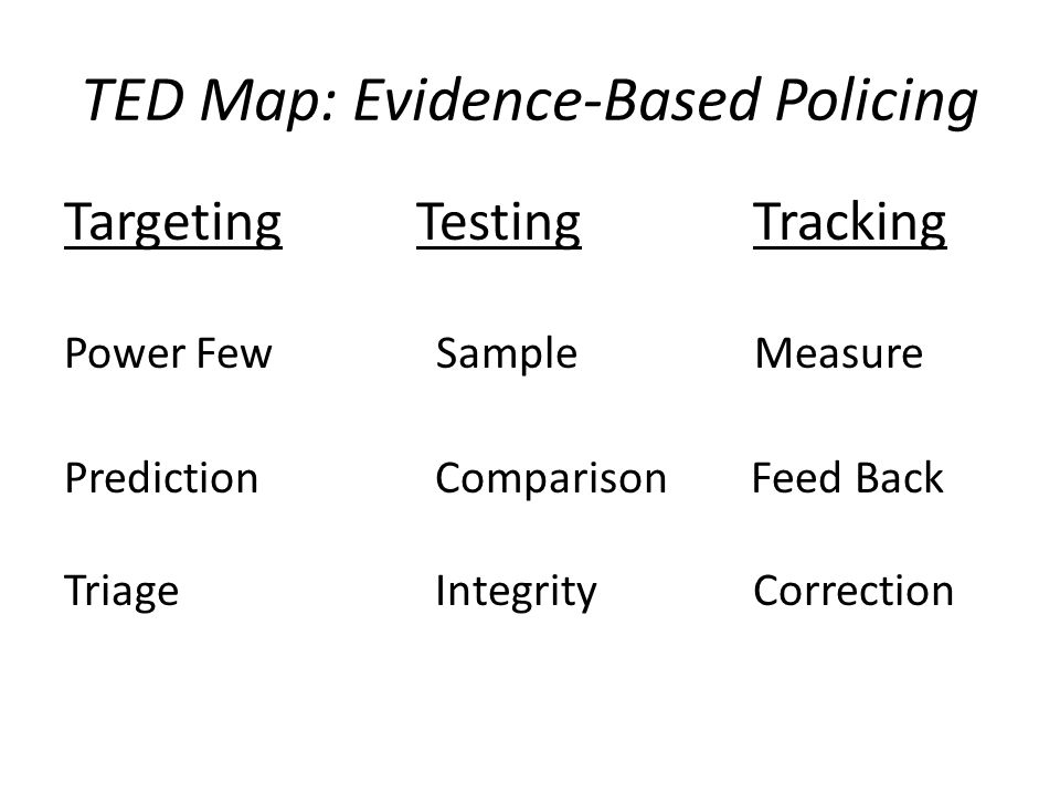 evidence based policing An evidence-based strategy had been developed from research on how robberies were successfully tackled in policing contexts as diverse as.