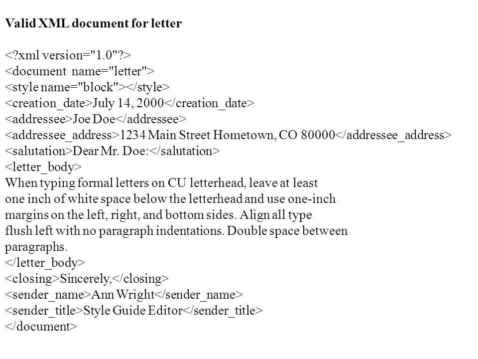 Valid XML document for letter