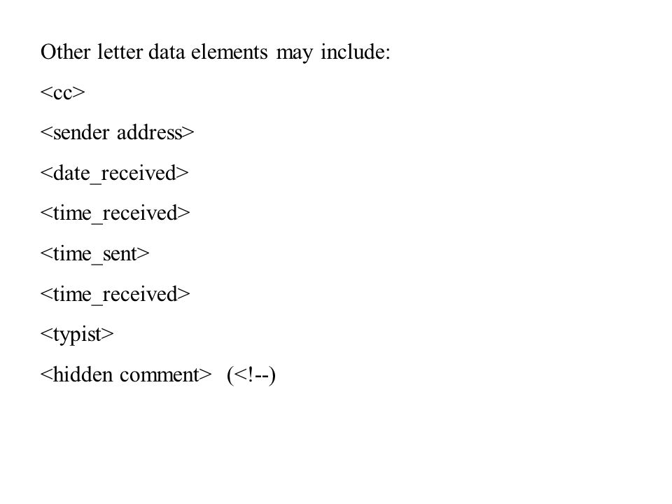 Other letter data elements may include: