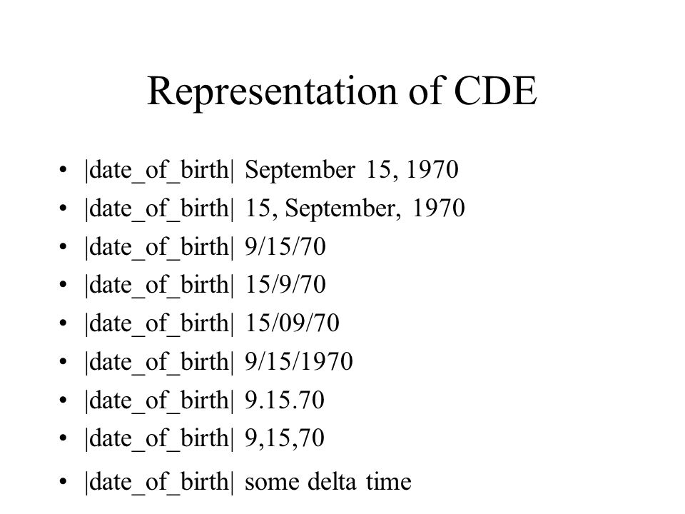 Representation of CDE |date_of_birth| September 15, 1970