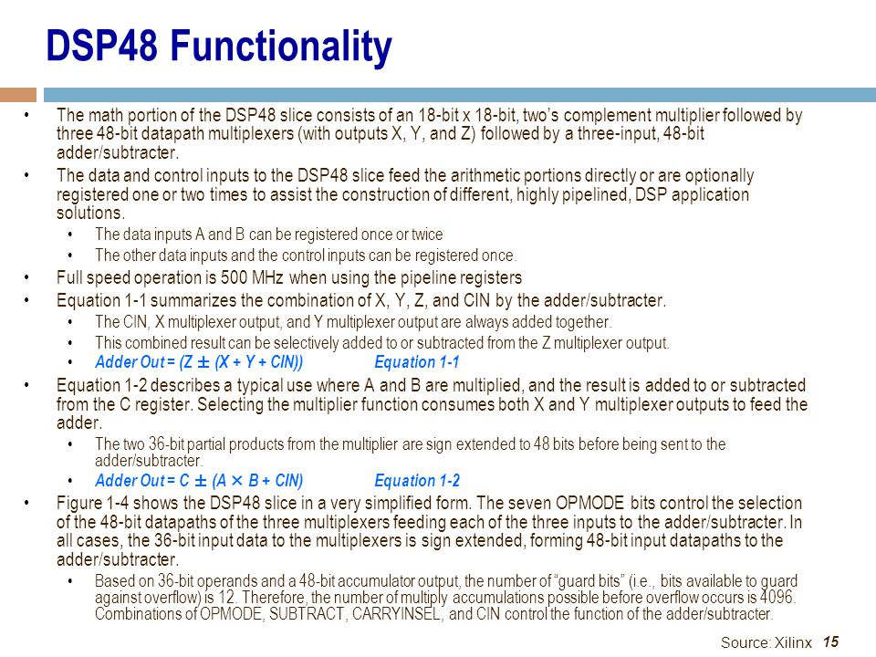DSP48 Functionality