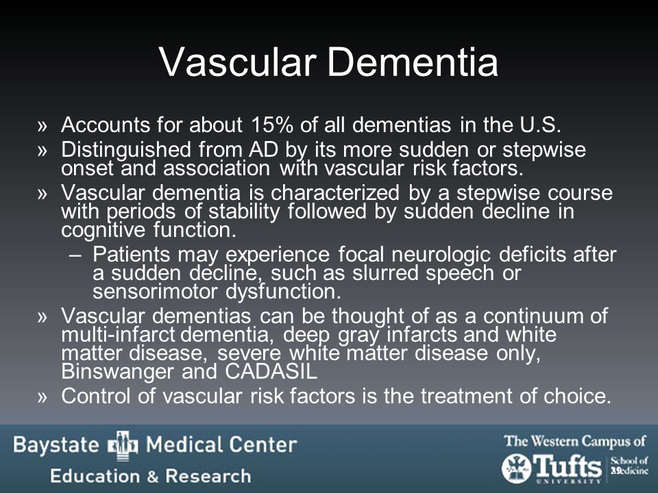 Vascular Dementia Accounts for about 15% of all dementias in the U.S.