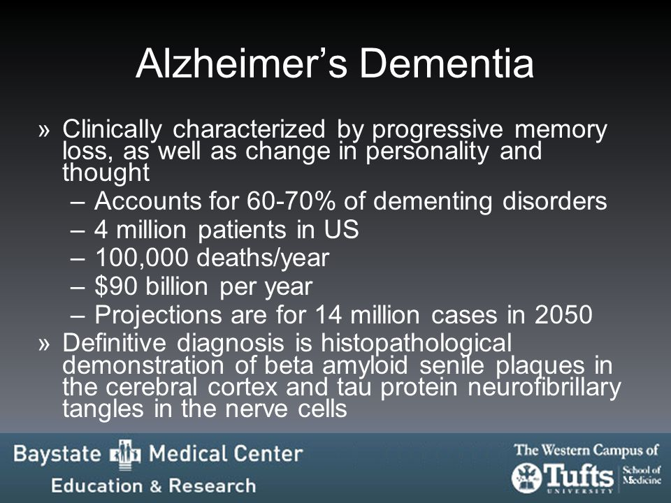 Alzheimer's Dementia Clinically characterized by progressive memory loss, as well as change in personality and thought.