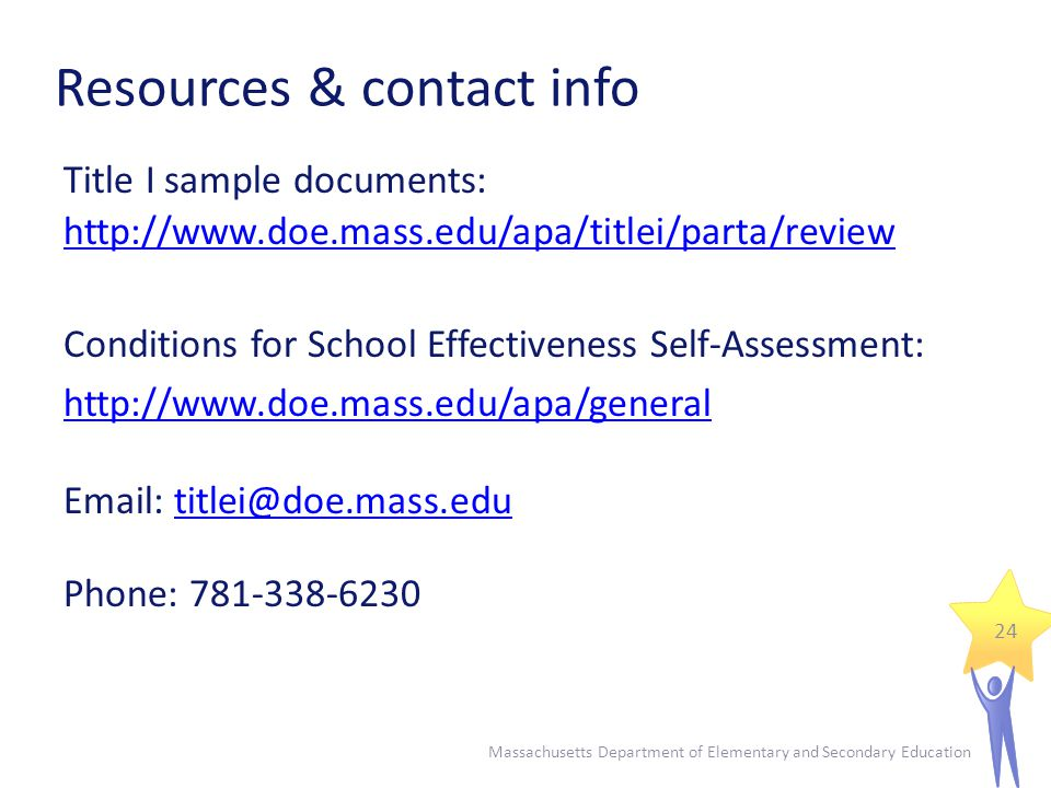 Resources & contact info Title I sample documents:
