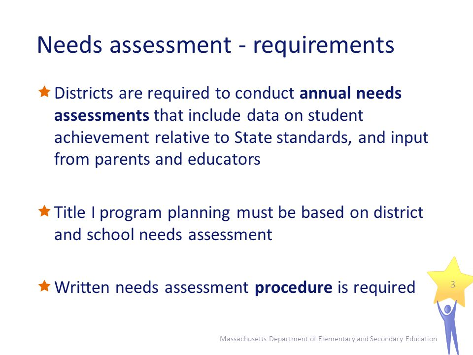 Needs assessment - requirements
