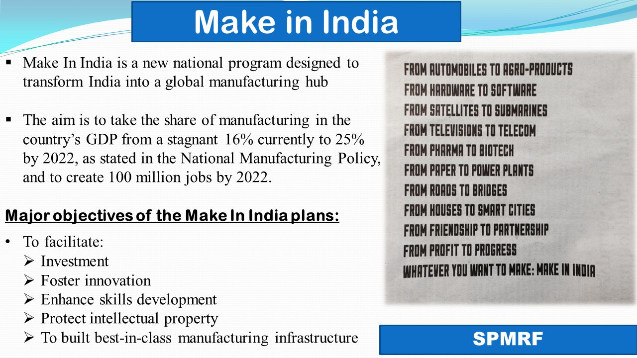 national manufacturing policy National manufacturing policy: features and objectives question - government has recently launched an e-biz portal aimed at providing various services of the government via a single portal the national manufacturing policy provides major impetus for economic growth and development.