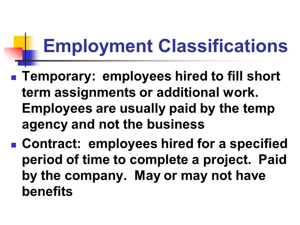 Employment Classifications