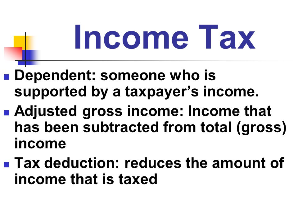 Income Tax Dependent: someone who is supported by a taxpayer's income.