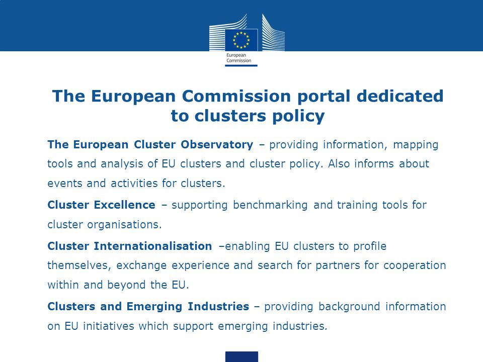 The European Commission portal dedicated to clusters policy