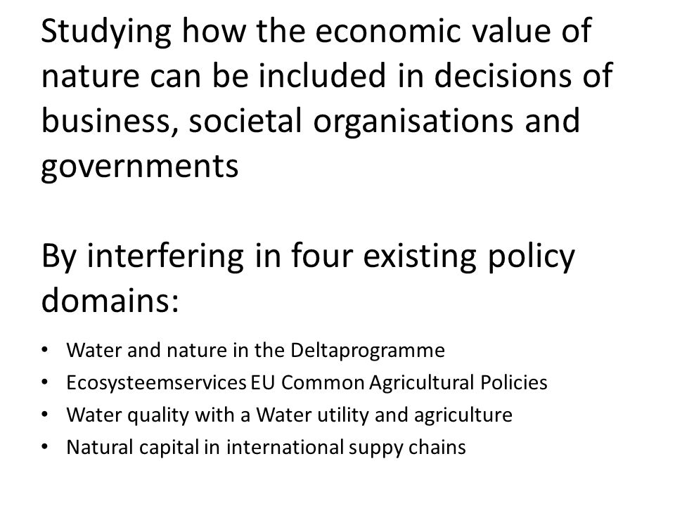 Studying how the economic value of nature can be included in decisions of business, societal organisations and governments By interfering in four existing policy domains: