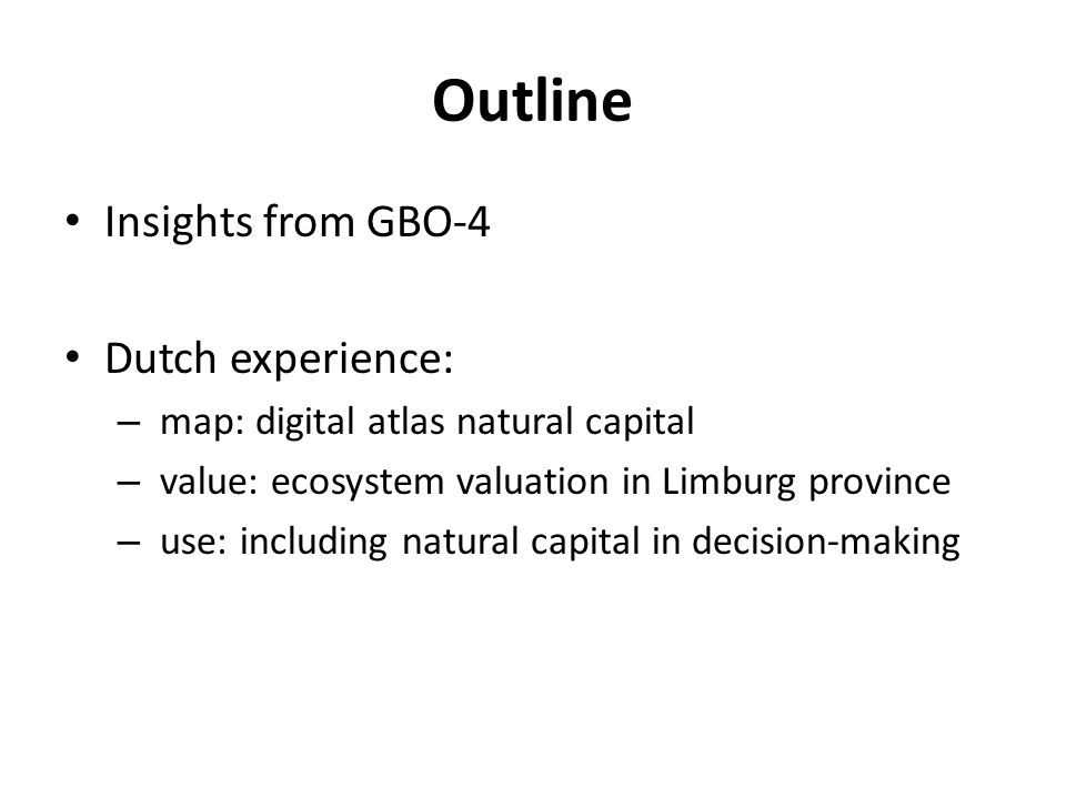 Outline Insights from GBO-4 Dutch experience: