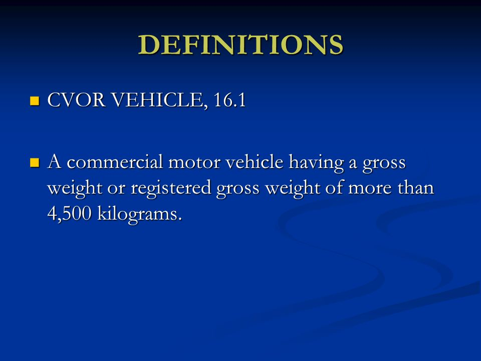 Ministry of transportation ppt video online download for Commercial motor vehicle definition
