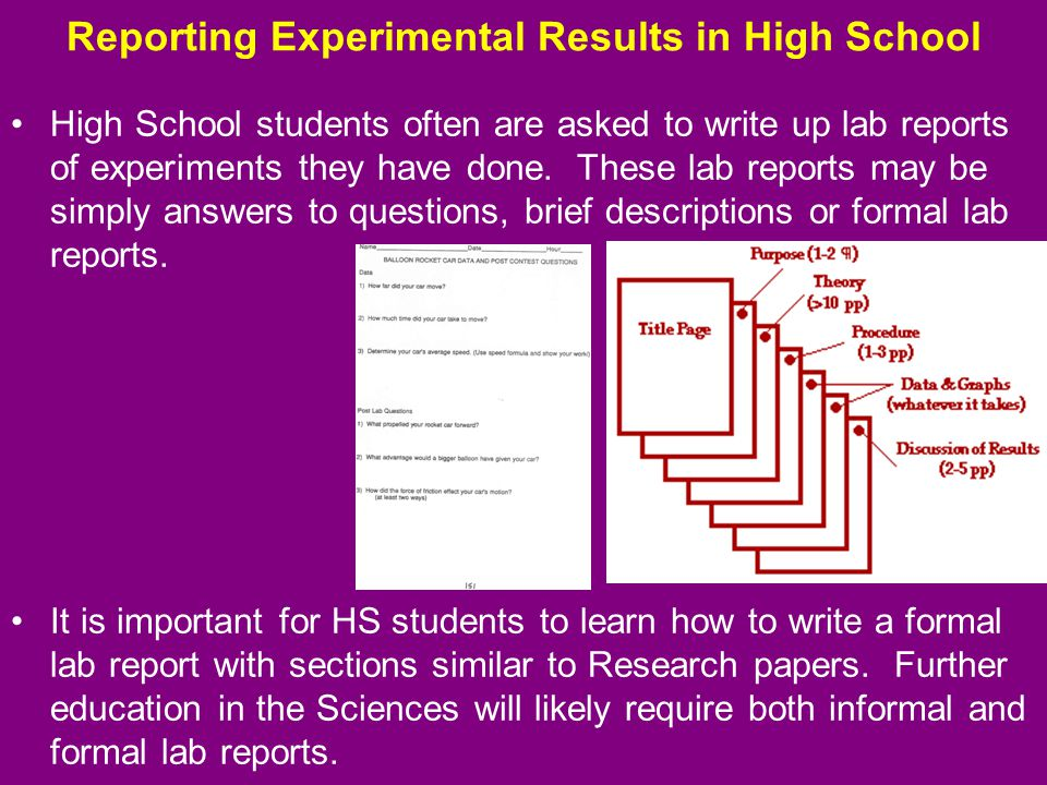 writing lab reports high school Writing a lab report  college and career readiness anchor standards for writing  students prepare their reports in a.