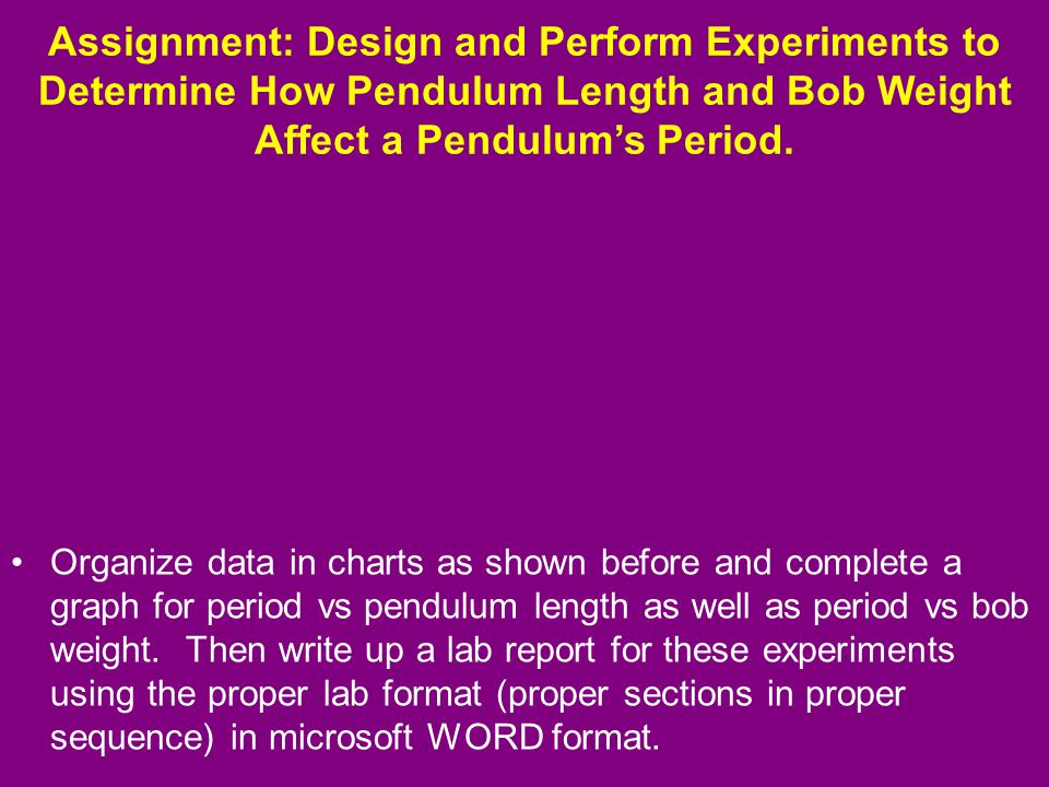 a lab experiment on what properties of the pendulum affect the period of the pendulum A group of students are investigating the factors that might affect the period of a pendulum collection of three experiments a to vary several properties of a.