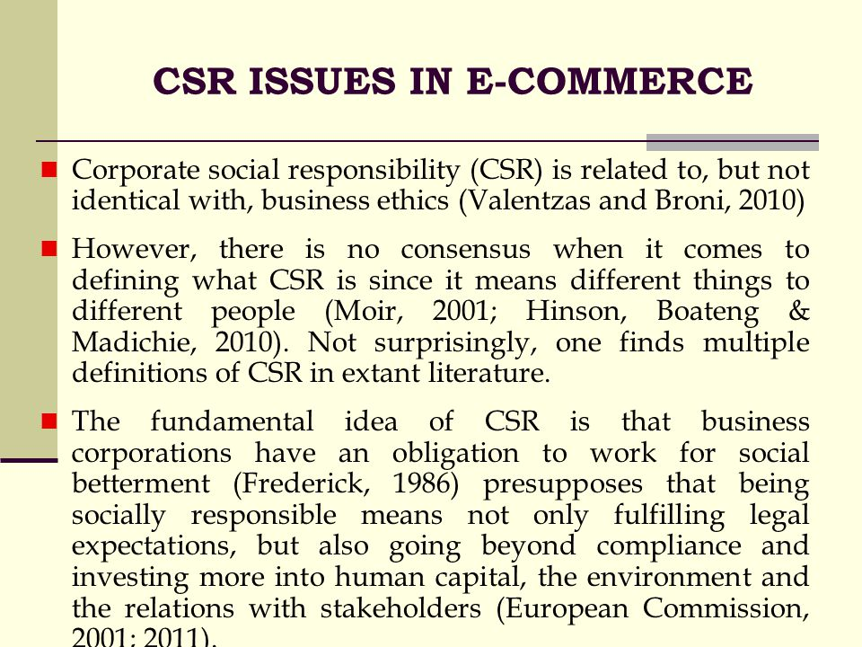 e commerce and csr issues Dan f ofori (lecturer in the university of ghana business school, university of   exploratory and comparative approach in examining the csr issues from the   robert e hinson, (2007) corporate social responsibility (csr) perspectives of.